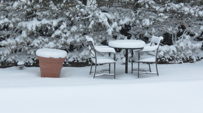 Snowy table for two.