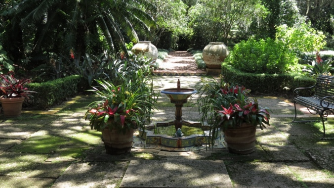 The patio at Pinewood Estate, a Mediterranean mansion that has been incorporated into the gardens.