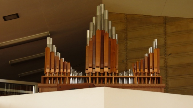 The organ pipes inside Danforth Chapel.